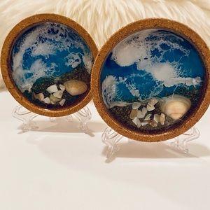 Set Of 2 Handmade Coastal Coasters W/Cork …